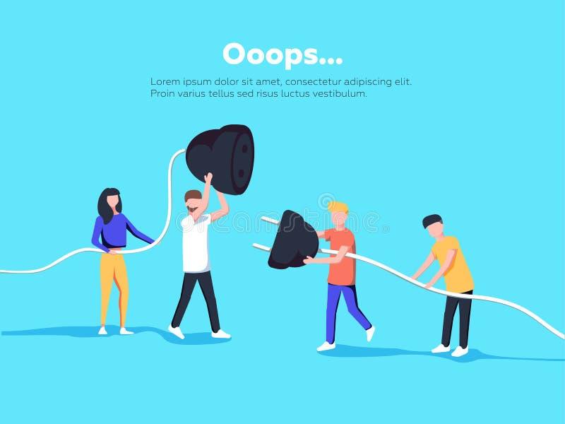 Illustrazione della pagina di errore La gente che tiene cavo disinserito Pagina non trovata illustrazione vettoriale
