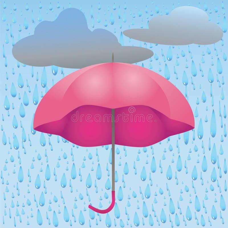 Illustrazione della pioggia e delle nuvole dell'ombrello royalty illustrazione gratis