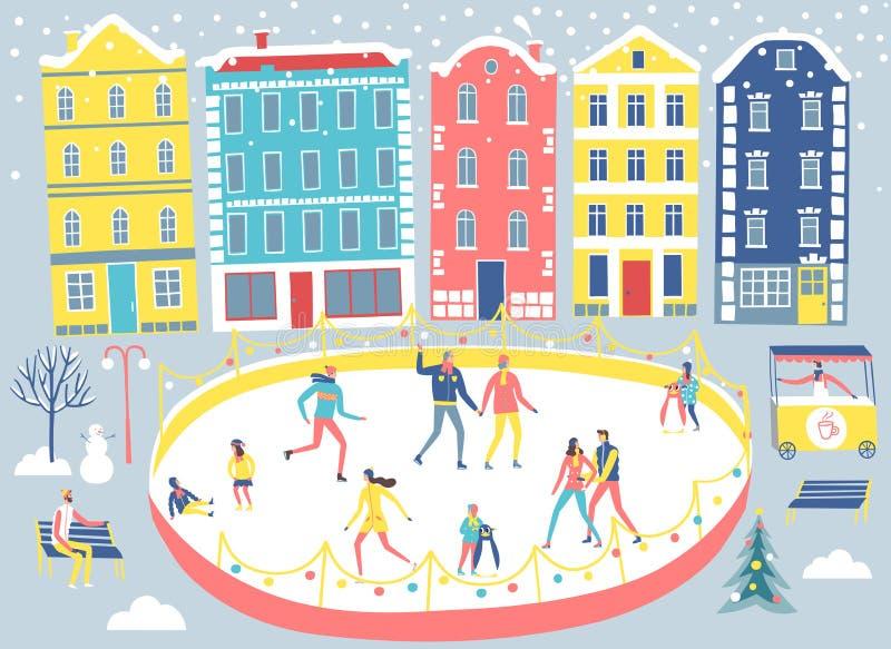 Illustrazione della pista di pattinaggio sul ghiaccio e della città royalty illustrazione gratis