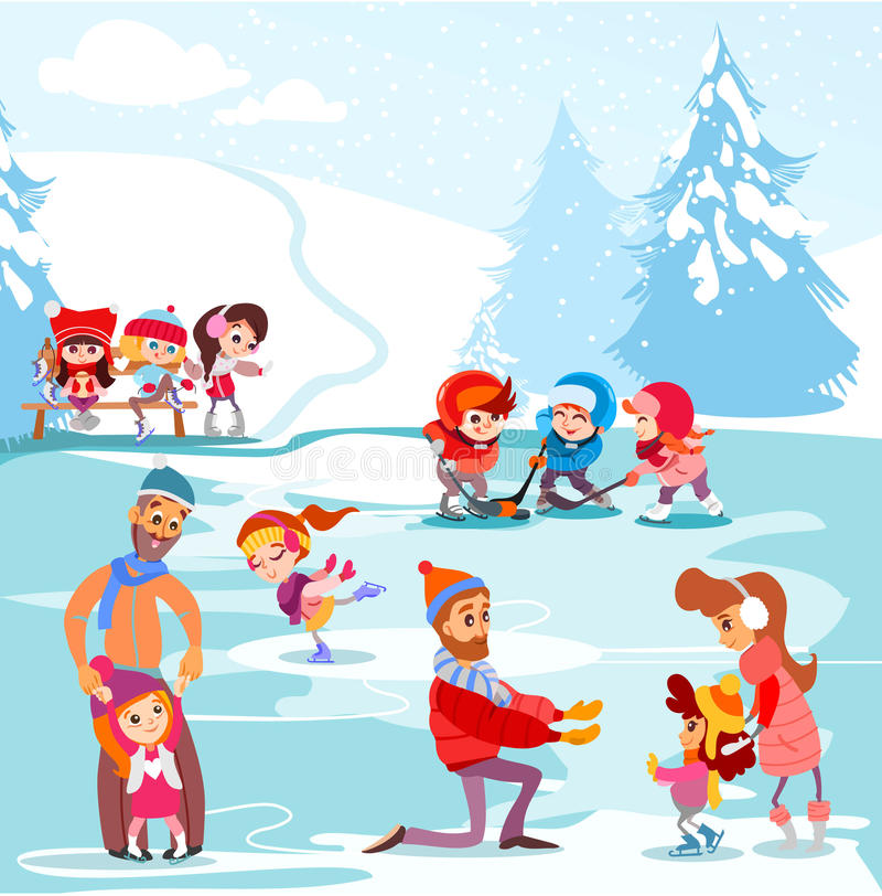 Illustrazione della pista di pattinaggio sul ghiaccio nel parco di inverno con il gioco dei bambini e delle famiglie illustrazione vettoriale