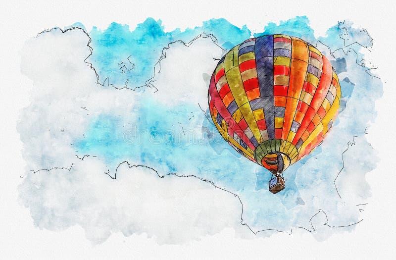 Illustrazione della pittura dell'acquerello della mongolfiera nel cielo illustrazione vettoriale