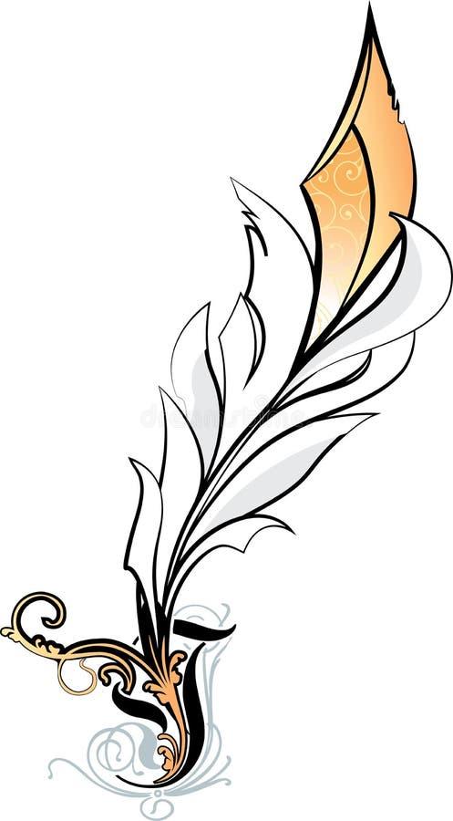 Illustrazione della piuma bianca su fondo bianco illustrazione vettoriale