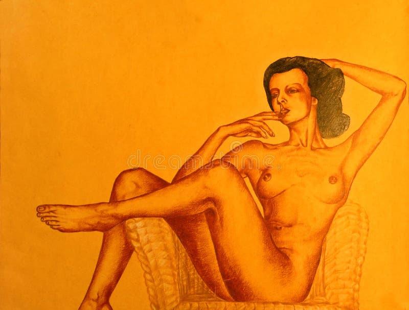 Illustrazione Della Posizione Nuda Della Donna Fotografie Stock