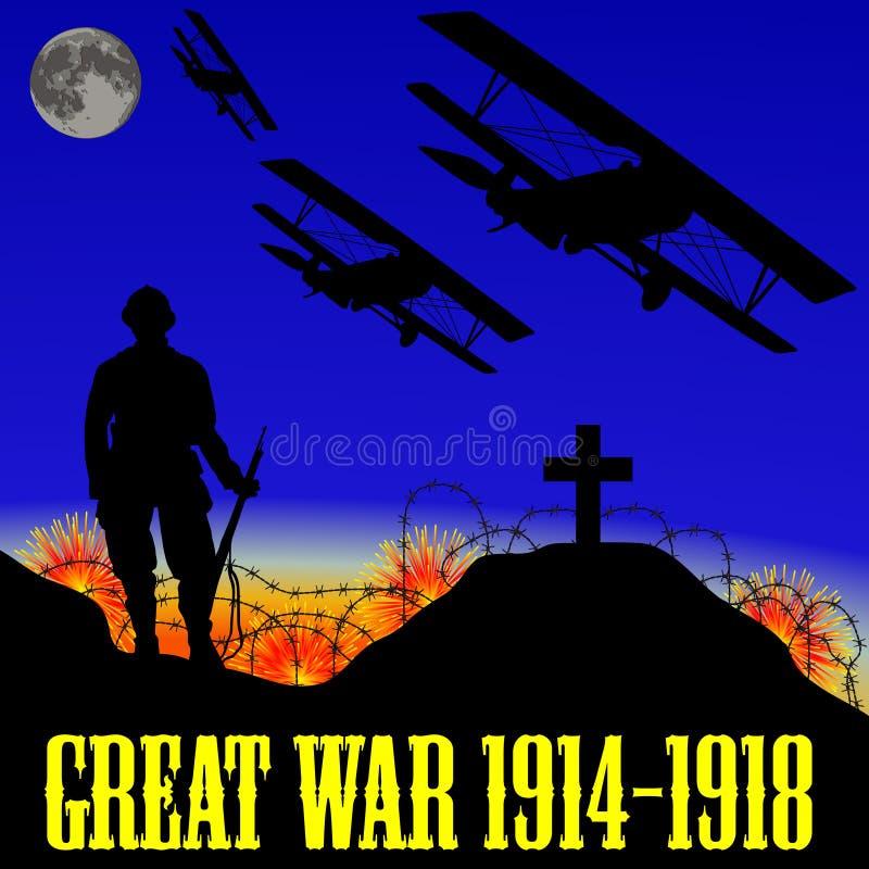 Illustrazione della prima guerra mondiale (la grande guerra) illustrazione vettoriale