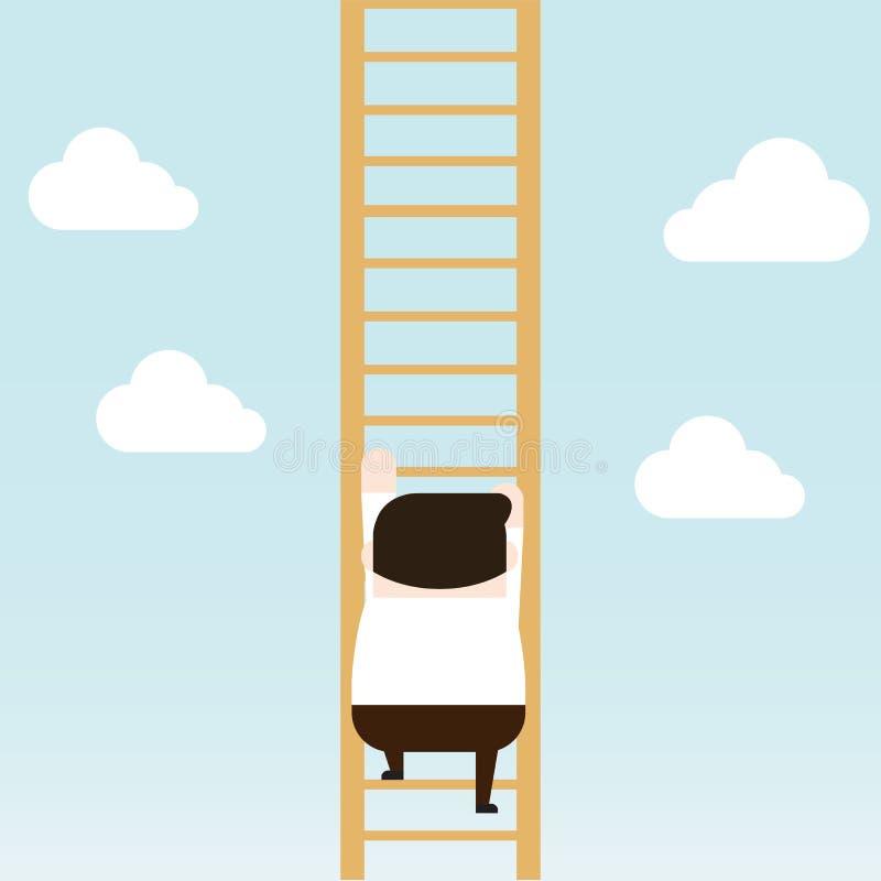Illustrazione della prova dell'uomo d'affari da scalare per completare scala illustrazione vettoriale