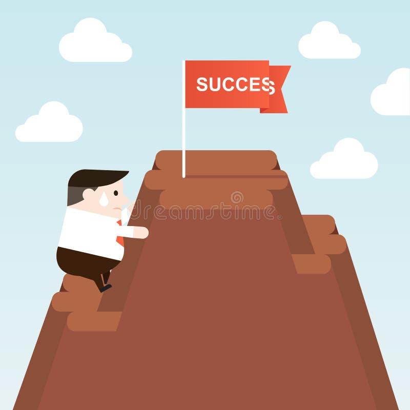 Illustrazione della prova dell'uomo d'affari da scalare a riuscito sulla cima della montagna illustrazione di stock