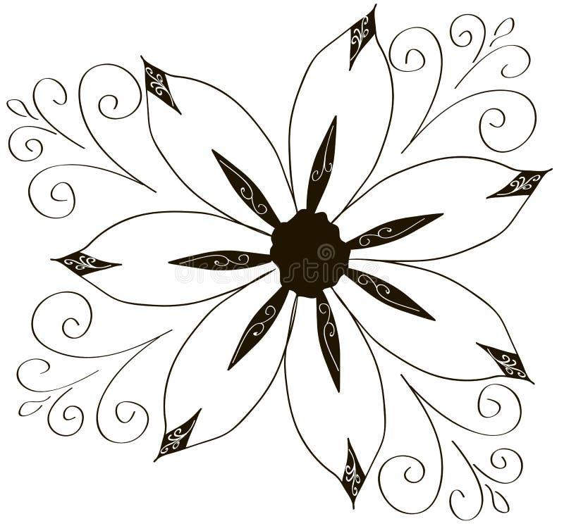 Illustrazione della raccolta arricciata dell'ornamento dei fiori illustrazione vettoriale