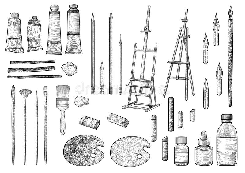 Illustrazione della raccolta dello strumento dell'artista, disegno, incisione, inchiostro, linea arte, vettore royalty illustrazione gratis