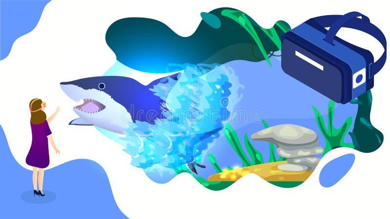Illustrazione della ragazza che guarda all'animale subacqueo immaginario del pesce wheal attraverso i vetri di VR per la realtà v illustrazione vettoriale
