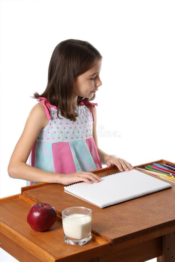 Illustrazione della ragazza con le matite fotografia stock