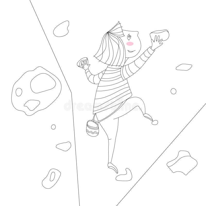 Illustrazione della ragazza rampicante fotografie stock