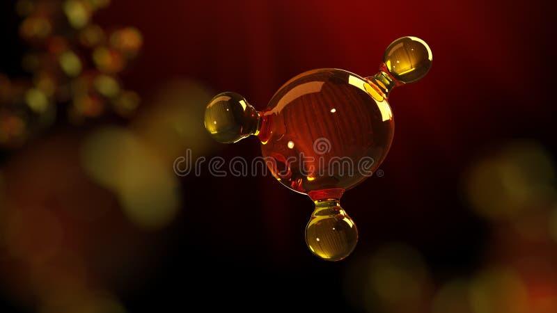 illustrazione della rappresentazione 3d del modello di vetro della molecola Molecola di olio Concetto del petrolio o del gas di m immagine stock
