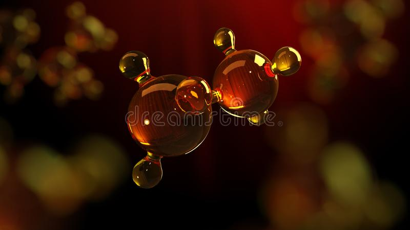 illustrazione della rappresentazione 3d del modello di vetro della molecola Molecola di olio Concetto del petrolio o del gas di m fotografie stock libere da diritti