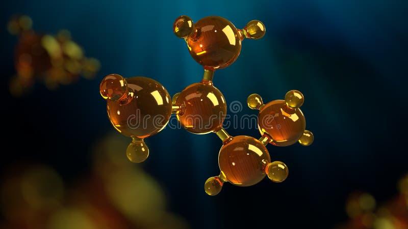 illustrazione della rappresentazione 3d del modello di vetro della molecola Molecola di olio Concetto del petrolio o del gas di m immagine stock libera da diritti