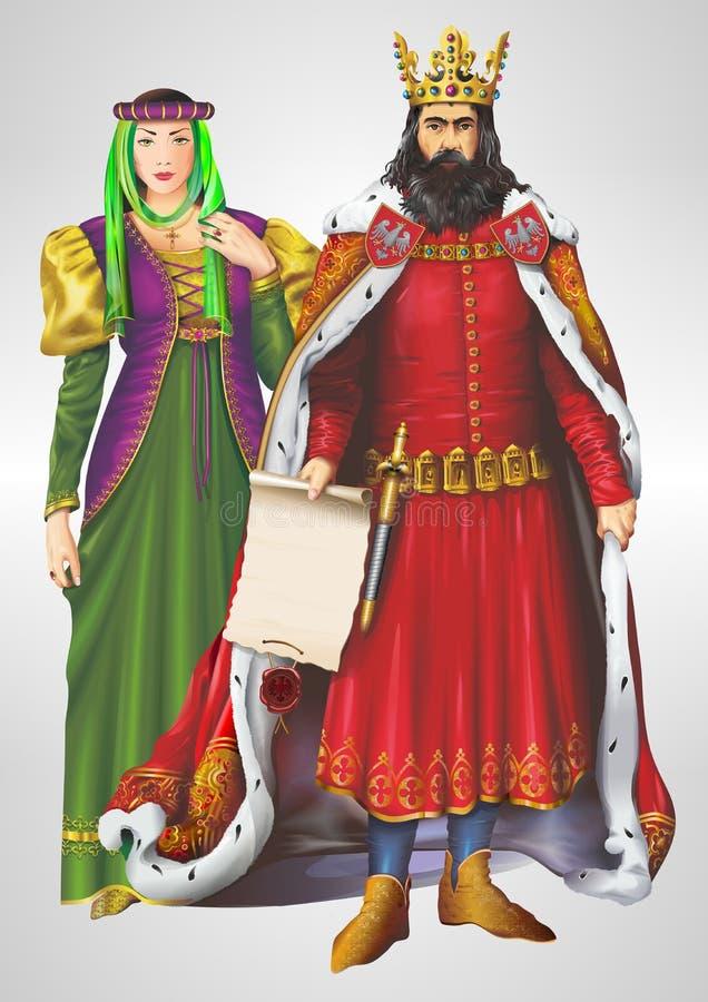 Illustrazione della regina e di re royalty illustrazione gratis