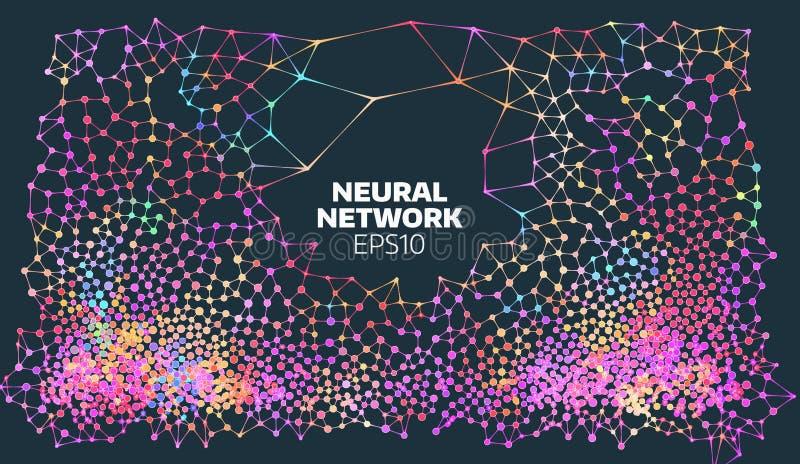 Illustrazione della rete neurale Processo astratto di apprendimento automatico Copertura geometrica di dati Intelligenza artifici illustrazione di stock