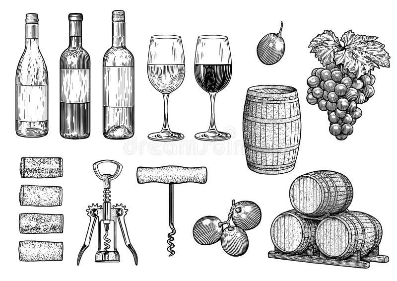 Illustrazione della roba del vino, disegno, incisione, inchiostro, linea arte, vettore illustrazione di stock