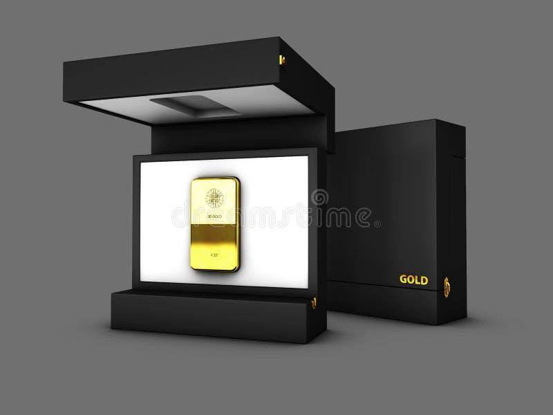 Illustrazione della scatola con le barre di oro, oro nella scatola di cartone Boxe aperto e chiuso royalty illustrazione gratis