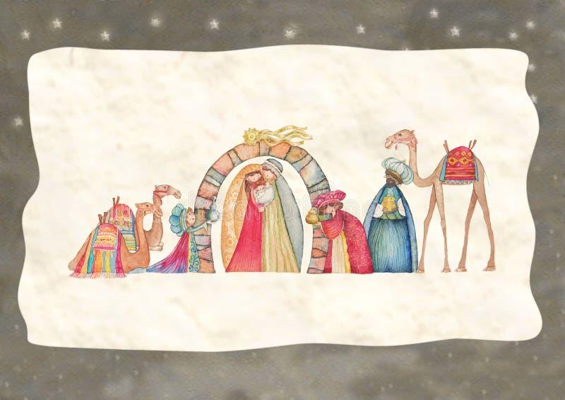 Illustrazione della scena di Christian Christmas Nativity con i tre saggi illustrazione di stock