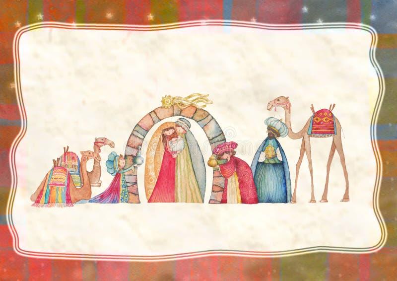 Illustrazione della scena di Christian Christmas Nativity con i tre saggi immagini stock libere da diritti