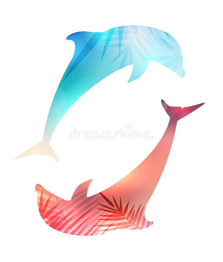Illustrazione della siluetta dei delfini di salto delle coppie con le foglie della palma di tramonto di un fondo vago e royalty illustrazione gratis