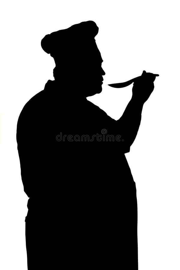 Illustrazione della siluetta di un capo-fornello con il cucchiaio, piatto su un fondo isolato bianco, profilo dell'assaggio del f illustrazione vettoriale