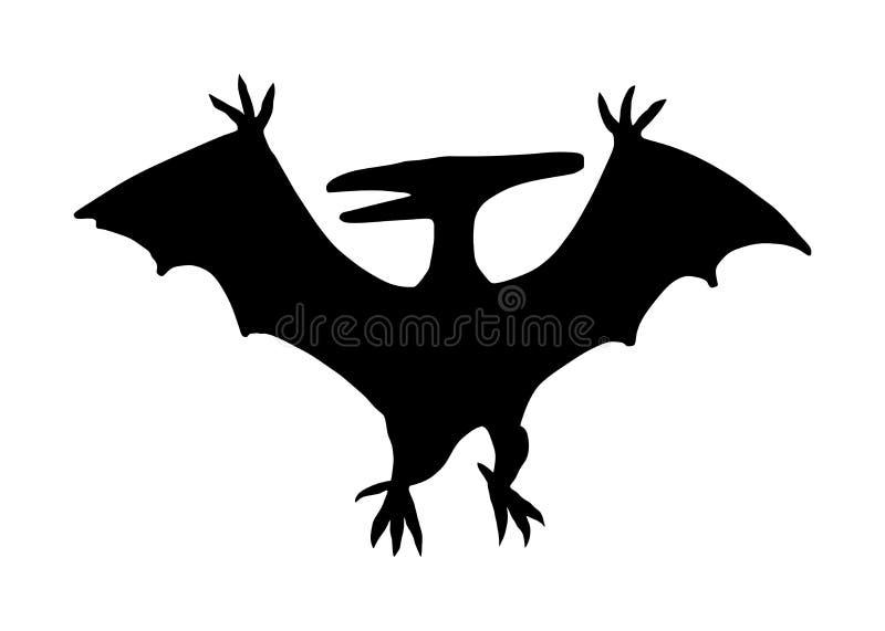 Illustrazione della siluetta di vettore di Pteranodon isolata su bianco Siluetta di vettore del pterodattilo, uccello dei dinosau illustrazione vettoriale