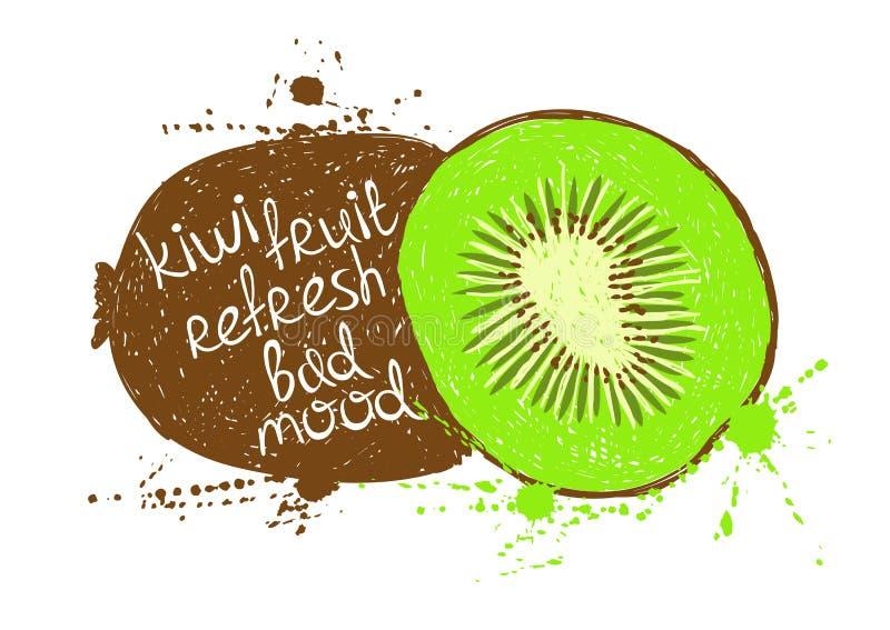 Illustrazione della siluetta marrone verde isolata del kiwi illustrazione di stock