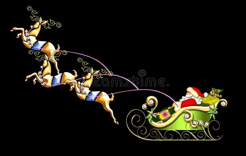 Illustrazione della slitta della Santa illustrazione di stock