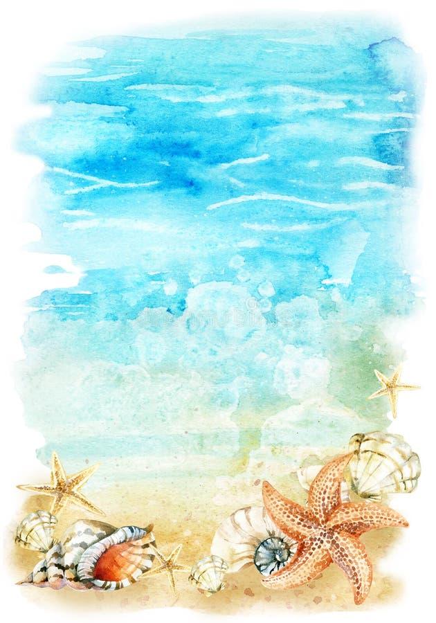 Illustrazione della spiaggia dell'acquerello con le conchiglie e le stelle marine illustrazione vettoriale