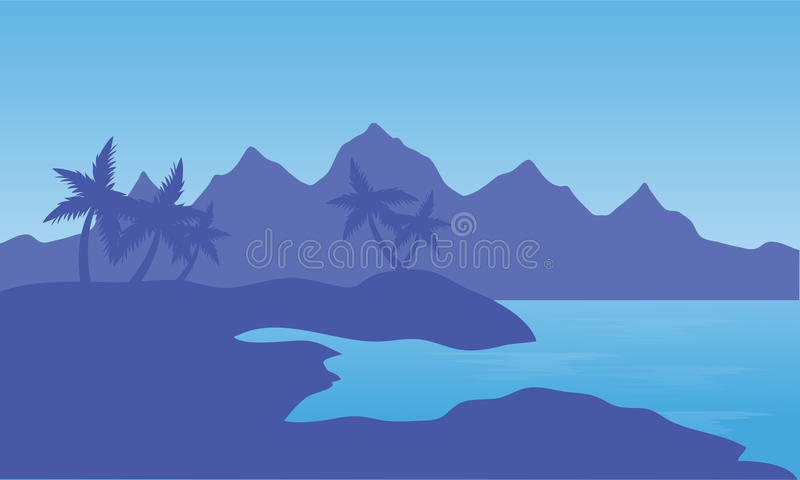 Illustrazione della spiaggia e della montagna illustrazione di stock