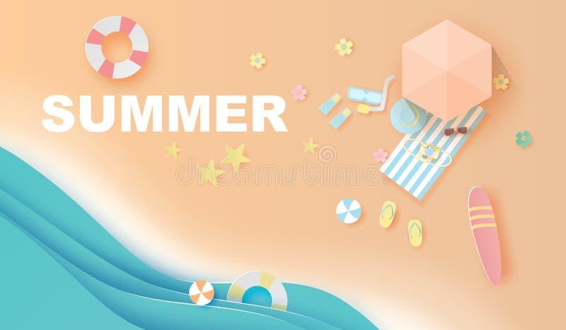 Illustrazione della stagione estiva di carta sulla spiaggia, ora legale di viaggio di vista superiore del mestiere e di arte per  royalty illustrazione gratis