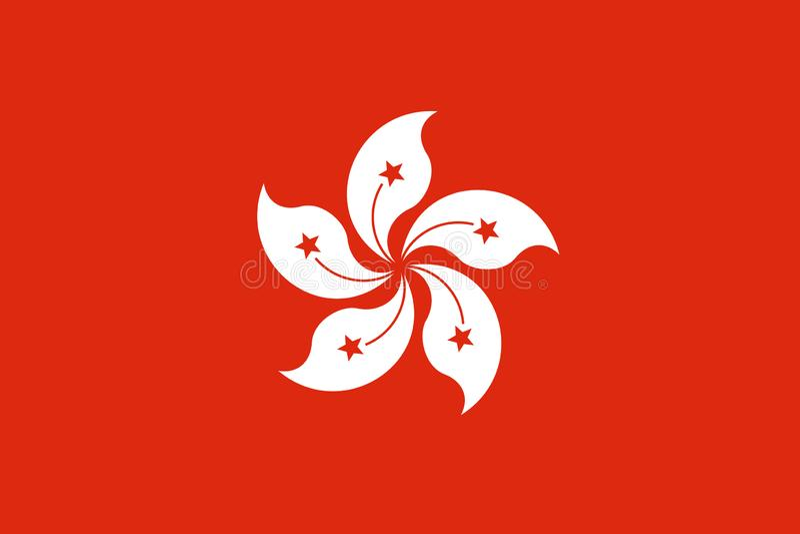 Illustrazione della stampa dell'insegna dell'isolato di vettore della bandiera di Hong Kong illustrazione di stock