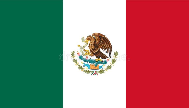 Illustrazione della stampa di web dell'isolato di vettore della bandiera del Messico royalty illustrazione gratis