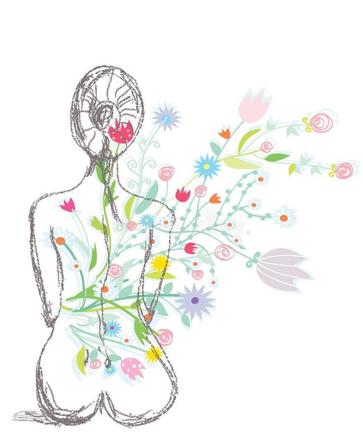 Illustrazione della stazione termale con la donna ed i fiori illustrazione vettoriale