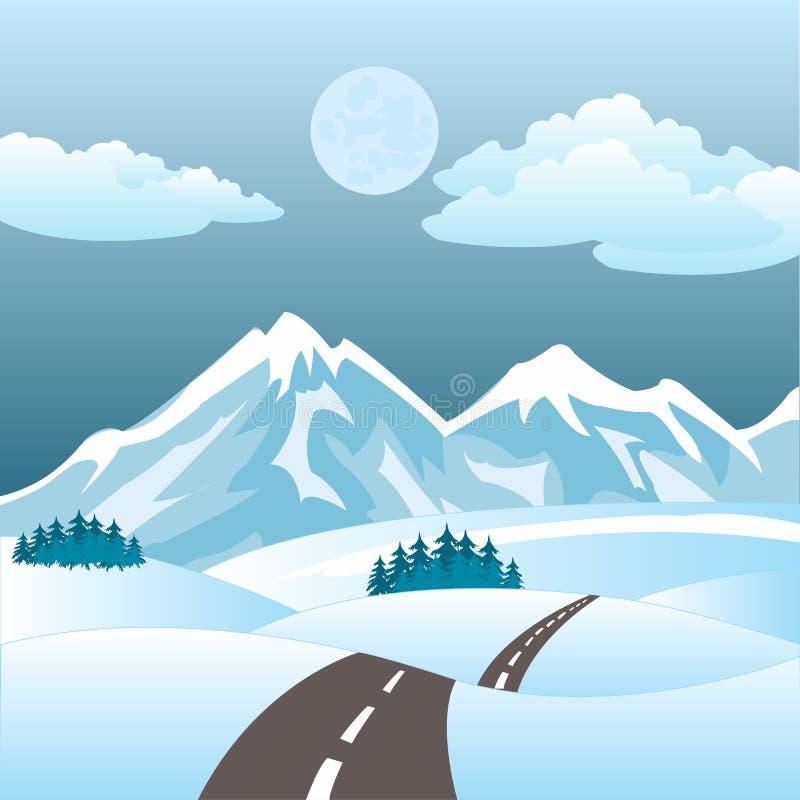 Illustrazione della strada nell'inverno royalty illustrazione gratis