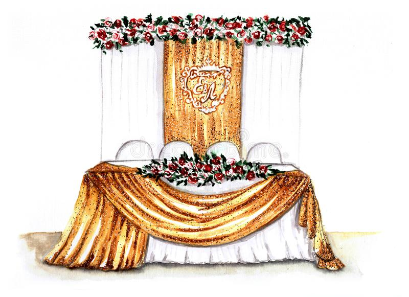 Illustrazione della tavola di nozze dell'acquerello illustrazione vettoriale