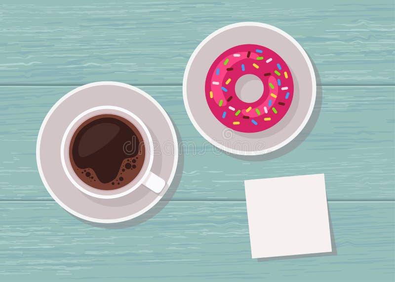 Illustrazione della tavola di vista superiore con la tazza di caffè, la ciambella e la nota in bianco per testo illustrazione vettoriale