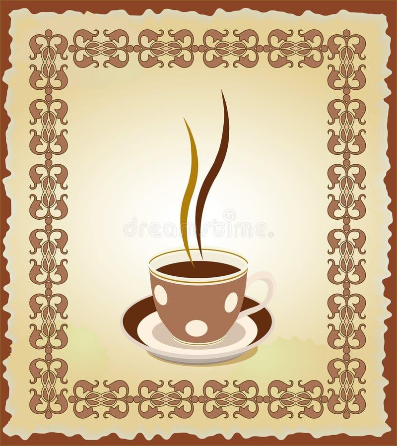 Illustrazione della tazza di tè nel telaio illustrazione di stock