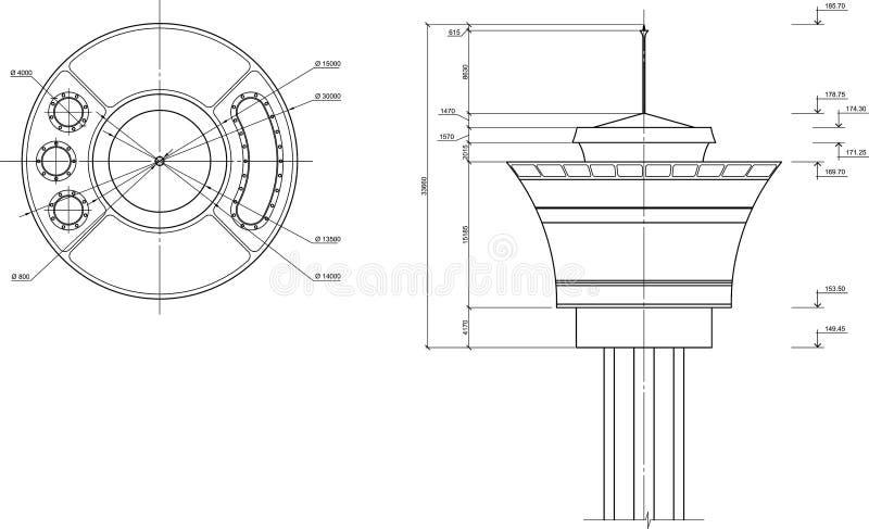 Illustrazione della torretta illustrazione di stock