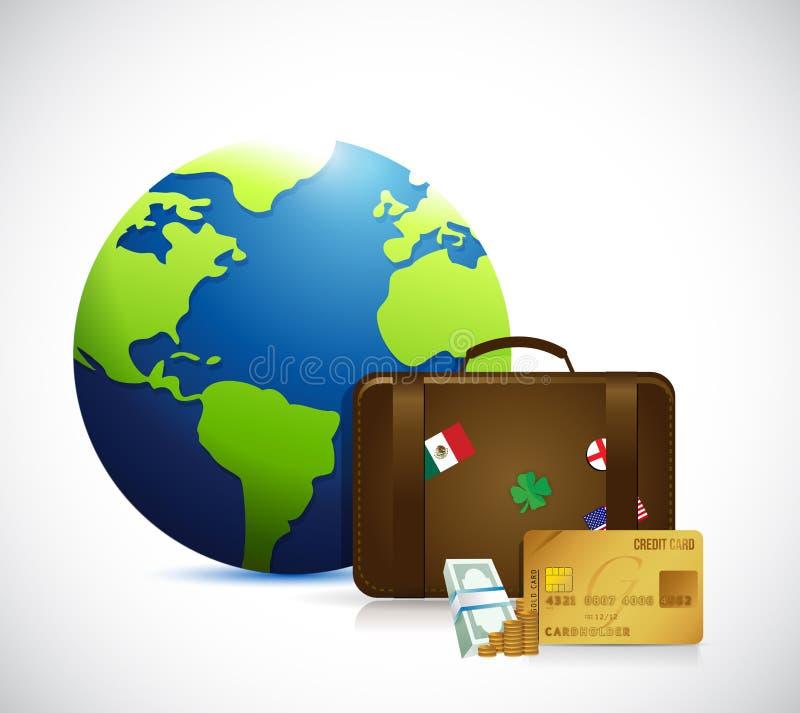 Illustrazione della valigia del globo, dei soldi e di viaggio illustrazione di stock