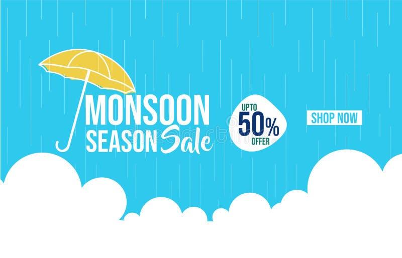 Illustrazione della vendita di stagione dei monsoni sull'insegna blu di colore royalty illustrazione gratis