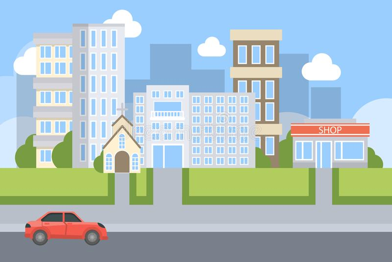 Illustrazione della via della città illustrazione vettoriale