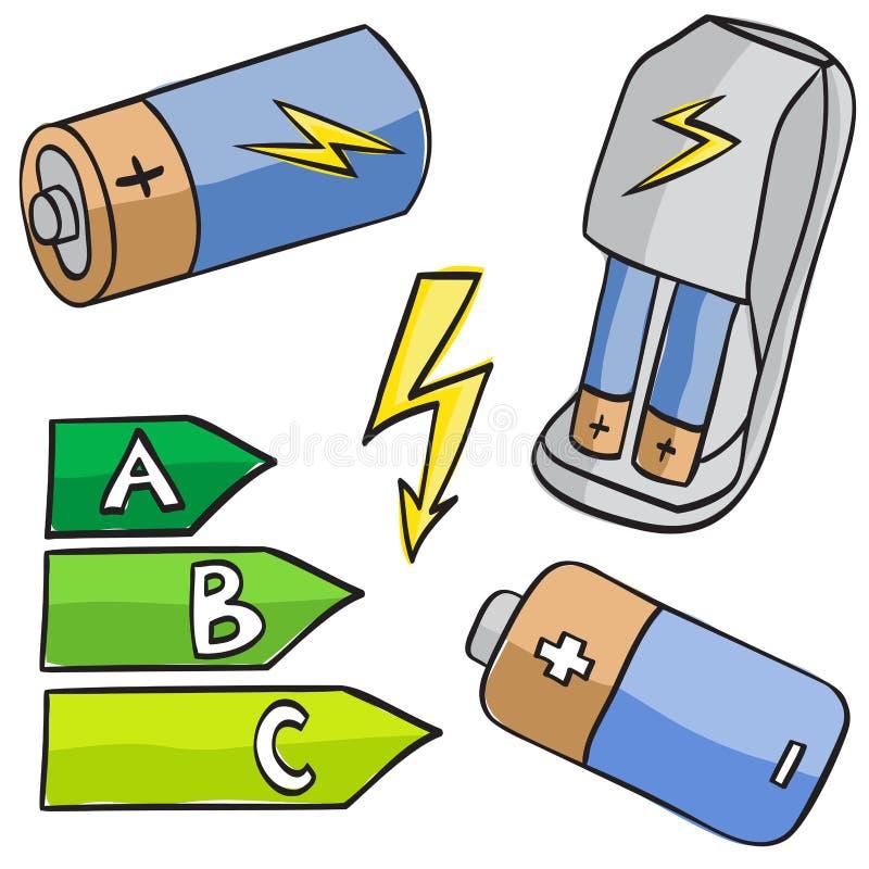 Illustrazione delle batterie e dei codici categoria energici royalty illustrazione gratis