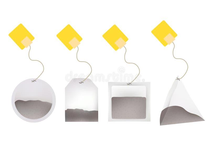 Illustrazione delle bustine di tè con le etichette nel giro, rettangolo, quadrato, forme della piramide Illustrazione del modello royalty illustrazione gratis