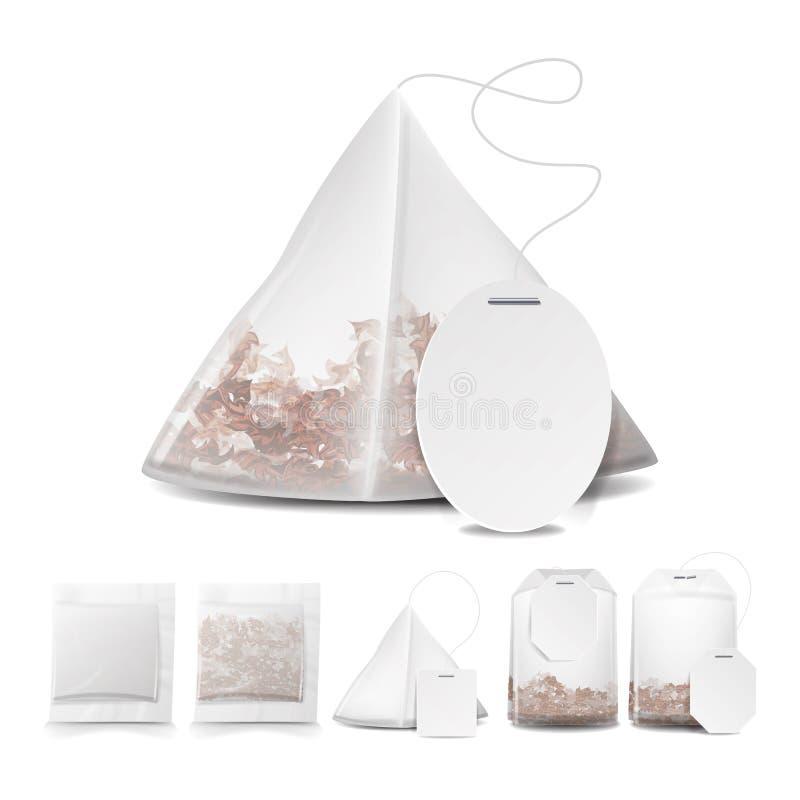 Illustrazione delle bustine di tè con le etichette Quadrato, rettangolo, forme della piramide Derisione di vettore sull'illustraz illustrazione di stock