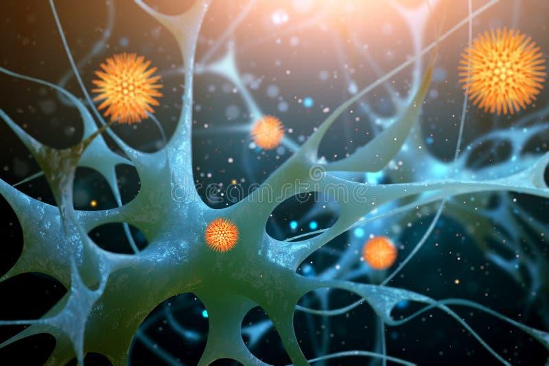 Illustrazione delle cellule nervose Illustrazione astratta illustrazione di stock