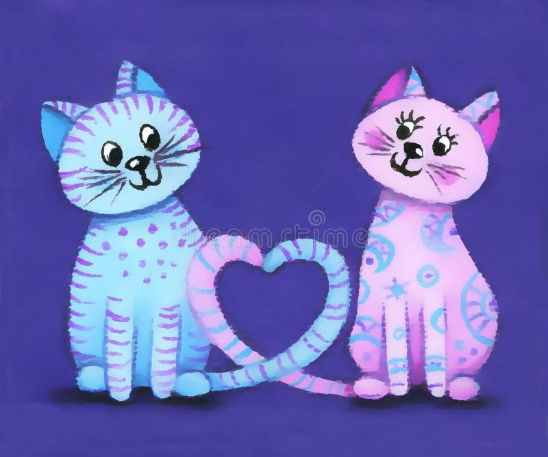 Illustrazione delle coppie dei gatti di amore per la carta o il fondo di San Valentino fotografia stock