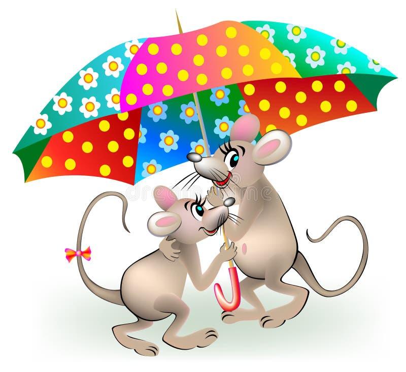 Illustrazione delle coppie dei topi che tengono ombrello illustrazione vettoriale