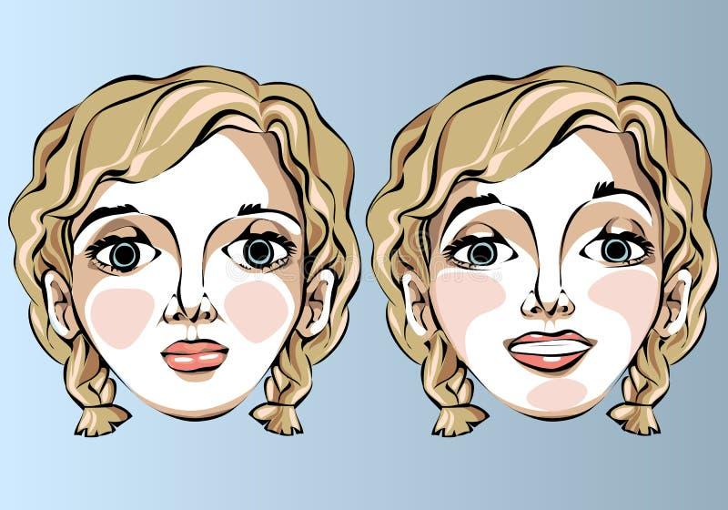 Illustrazione delle espressioni facciali differenti della a illustrazione di stock